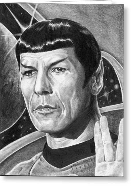 Leonard Nimoy - Mr. Spock Greeting Card by Iracema Marianne Muller