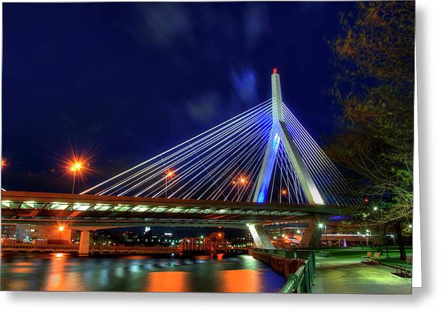 Leonard P Zakim Bridge At Night - Boston Cityscape Greeting Card