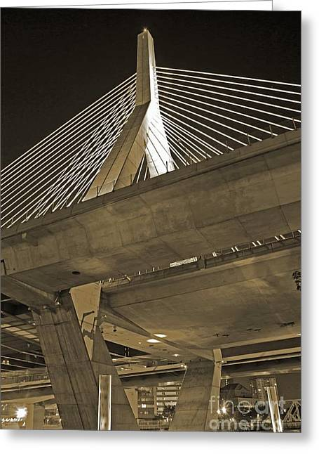Leonard P. Zakim Bunker Hill Bridge In Sepia Greeting Card