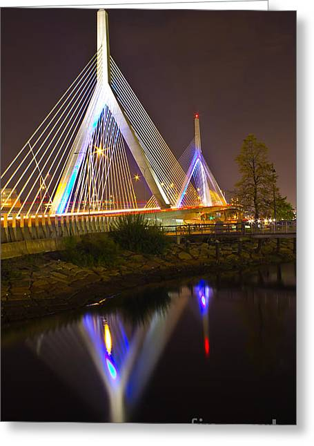 Leonard P. Zakim Bunker Hill Bridge Reflection Greeting Card