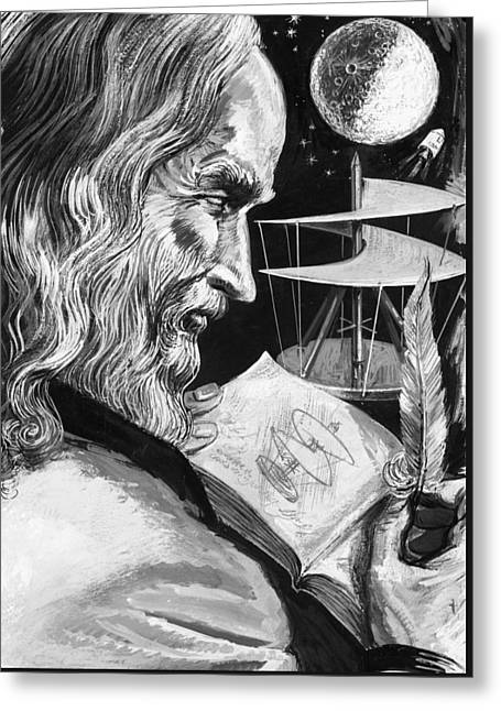 Leonardo Da Vinci Greeting Card by English School