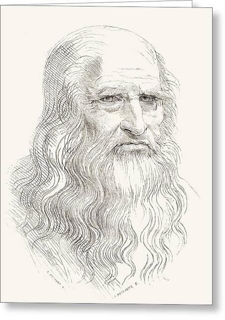 Leonardo Di Ser Piero Da Vinci, 1452 Greeting Card by Vintage Design Pics