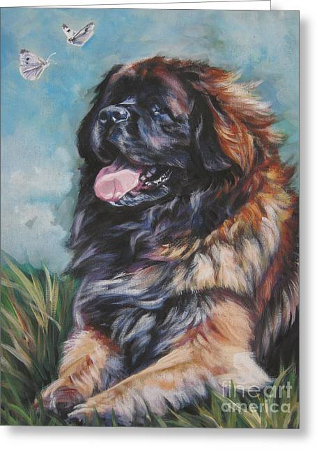 Leonberger Greeting Cards - Leonberger Art Print Greeting Card by Lee Ann Shepard