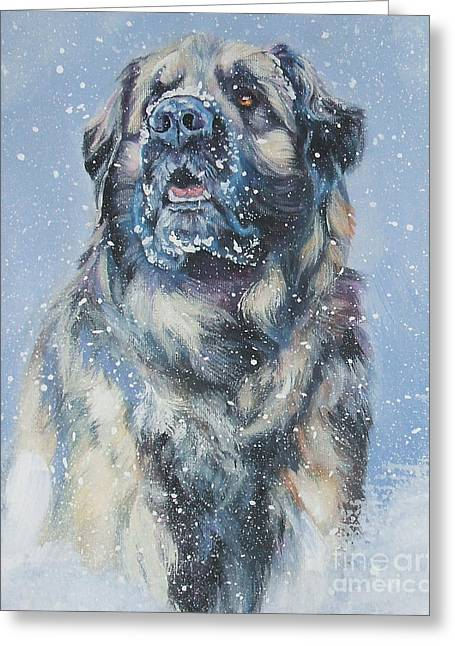 Leonberger In Snow Greeting Card