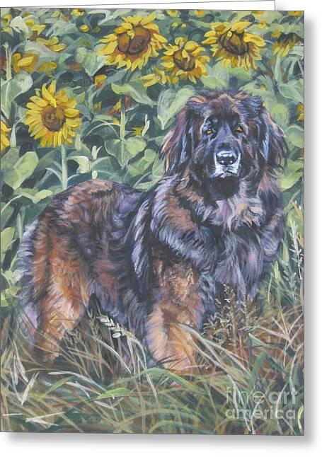 Leonberger In Sunflowers Greeting Card by Lee Ann Shepard