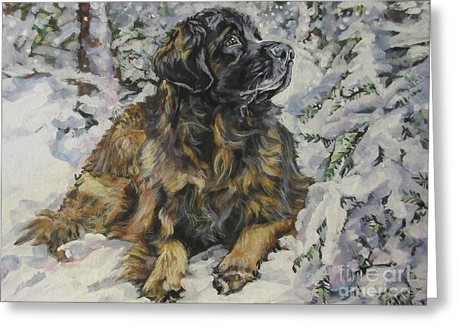 Leonberger In The Snow Greeting Card