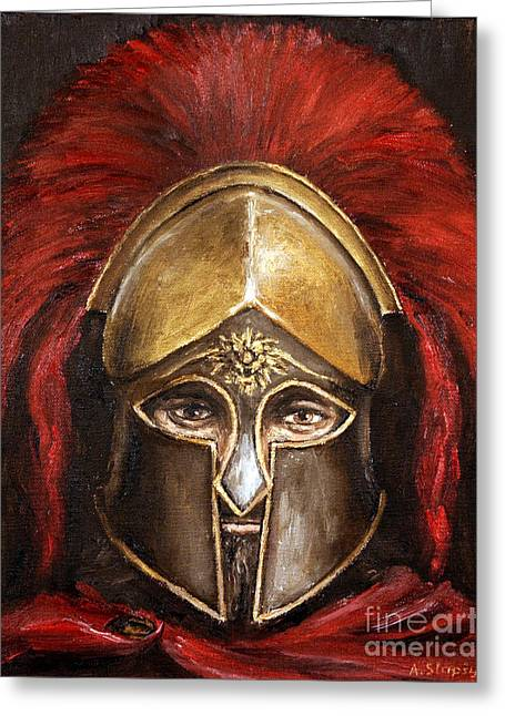 Greeting Card featuring the painting Leonidas by Arturas Slapsys