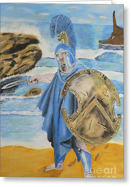 Greeting Card featuring the painting Leonidas King Of The Spartans   by Eric Kempson