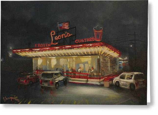 Leon's Frozen Custard Greeting Card by Tom Shropshire
