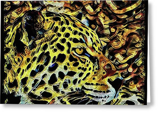 Greeting Card featuring the painting Leopard Abstract  by David Mckinney