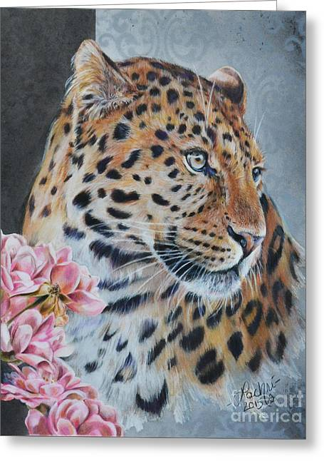 Leopard And Roses Greeting Card