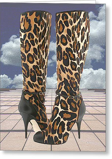 Leopard Boots With Ankle Straps Greeting Card by Elaine Plesser