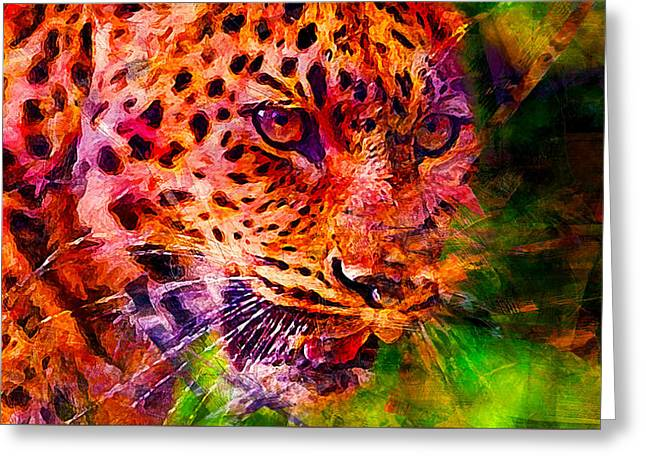 Leopard Greeting Card by Elena Kosvincheva