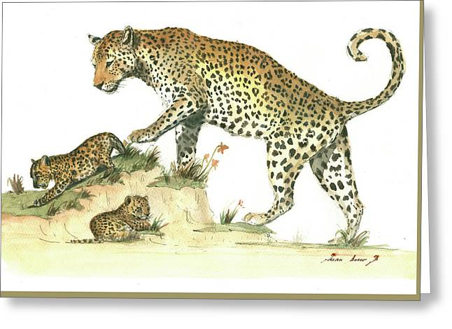 Leopard Family Greeting Card by Juan Bosco
