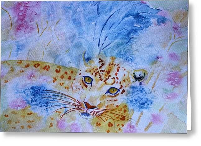 Leopard Hide And Seek Greeting Card