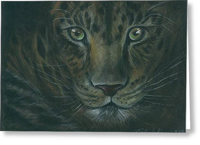 Wildcats Drawings Greeting Cards - Leopard Greeting Card by Linda Nielsen