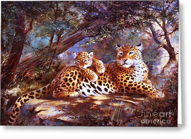 Leopard Love Greeting Card by Silvia  Duran