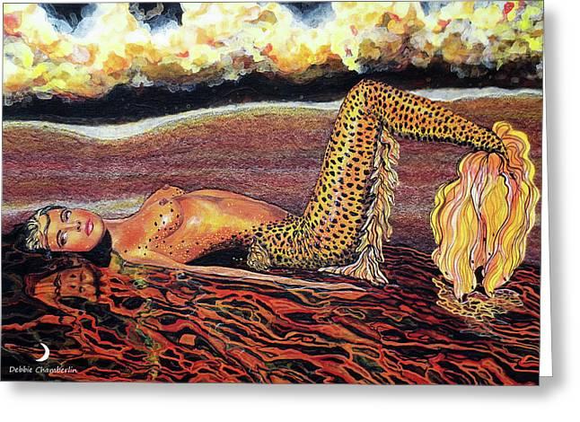 Leopard Mermaid Greeting Card by Debbie Chamberlin