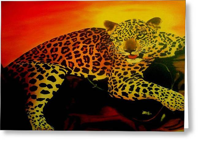 Leopard On A Tree Greeting Card