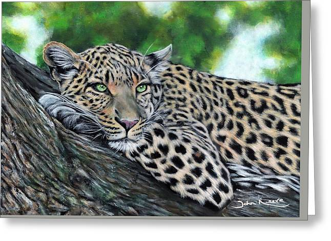 Leopard On Branch Greeting Card
