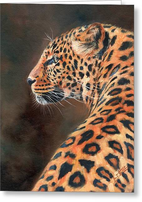 Leopard Profile Greeting Card by David Stribbling
