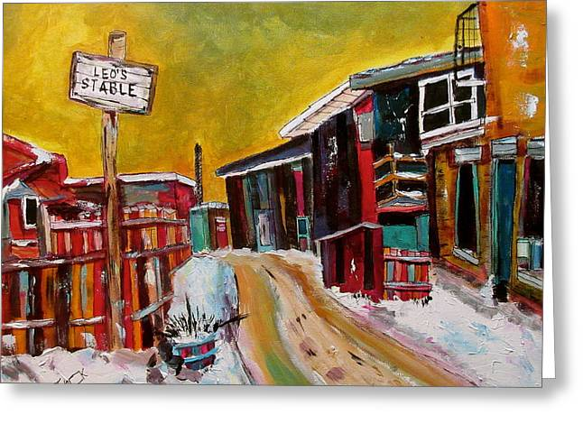 Leo's Stables Griffintown Greeting Card by Michael Litvack