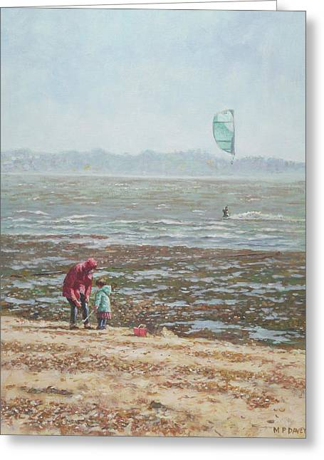 Greeting Card featuring the painting Lepe Beach Windy Winter Day by Martin Davey