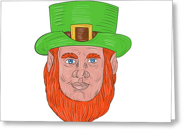 Leprechaun Head Front Drawing Greeting Card