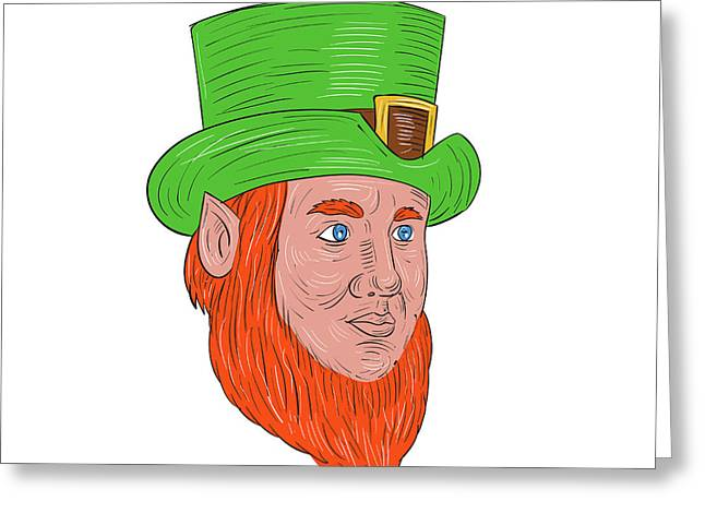 Leprechaun Head Three Quarter View Drawing Greeting Card