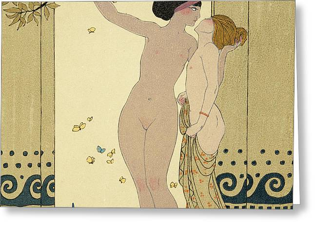 Les Conseils Greeting Card by Georges Barbier
