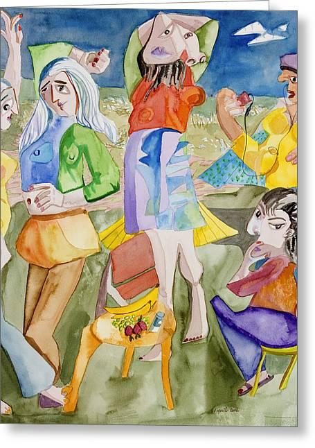 Les Demoiselles Of Santa Cruz V3 Greeting Card by Susan Cafarelli Burke