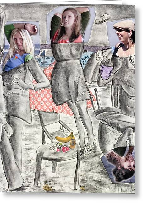 Les Demoiselles Of Santa Cruz V8 Greeting Card by Susan Cafarelli Burke