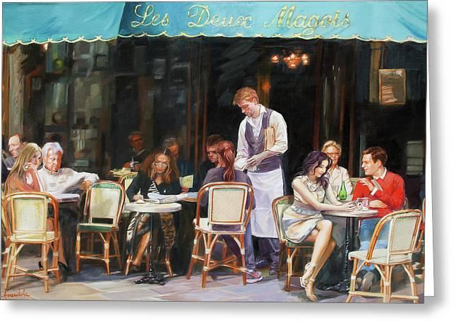 Les Deux Magots - Cafe Scene In Paris Greeting Card by Dominique Amendola