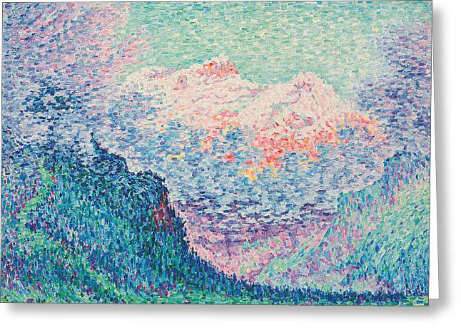 Swiss Paintings Greeting Cards - Les Diablerets Greeting Card by Paul Signac