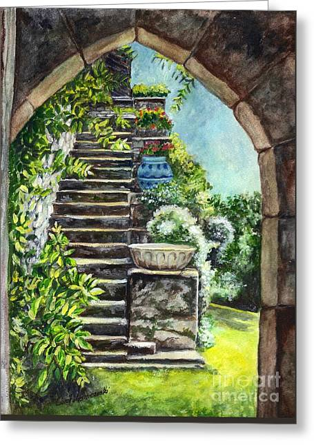 Les Escaliers En Bandouille In Sevres France  Greeting Card by Carol Wisniewski