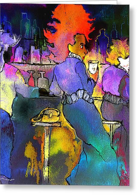 Les Filles Du Cafe De La Nuit Greeting Card by Miki De Goodaboom