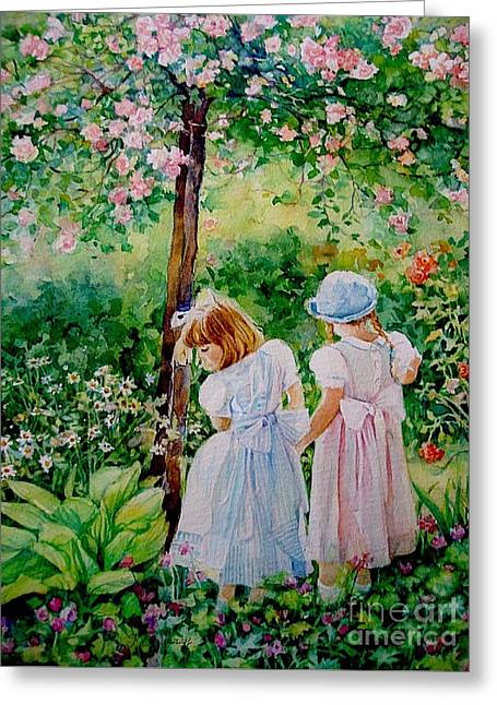 Les Fillettes Greeting Card by Francoise Chauray