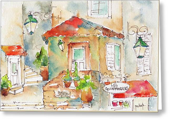 Greeting Card featuring the painting Les Gourmandises St Paul De Vence by Pat Katz