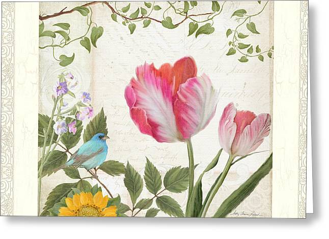 Les Magnifiques Fleurs I - Magnificent Garden Flowers Parrot Tulips N Indigo Bunting Songbird Greeting Card by Audrey Jeanne Roberts
