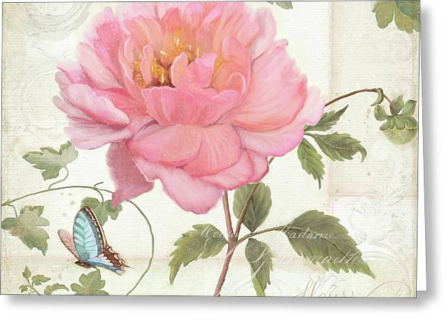 Les Magnifiques Fleurs Iv - Magnificent Garden Flowers Pink Peony N Blue Butterfly Greeting Card by Audrey Jeanne Roberts