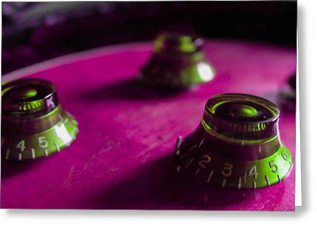 Guitar Controls Series Pink And Green Greeting Card