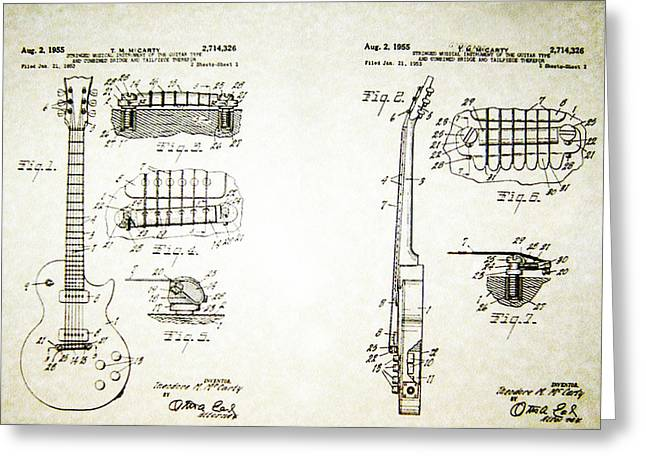 Les Paul Guitar Patent 1955 Greeting Card by Bill Cannon