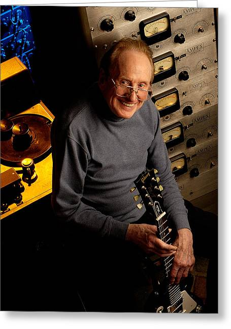 Les Paul With The Octopus By Gene Martin Greeting Card by David Smith