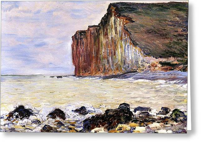 Ocean Shore Paintings Greeting Cards - Les Petites Dalles Greeting Card by Claude Monet