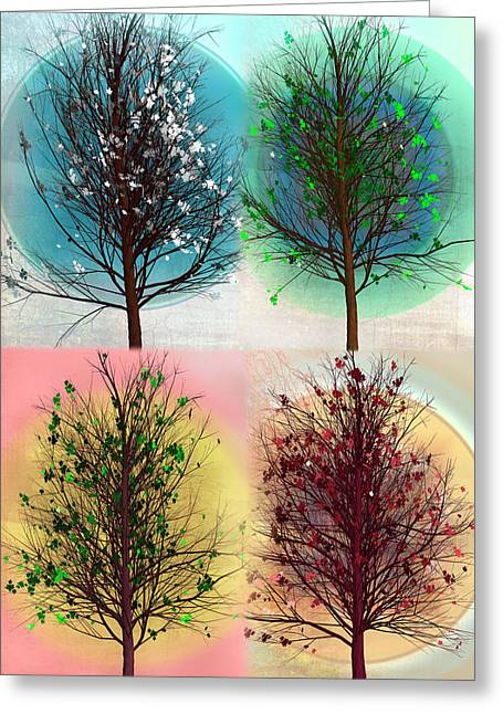 Les Quatre Saisons In Vertical Greeting Card by Debra and Dave Vanderlaan