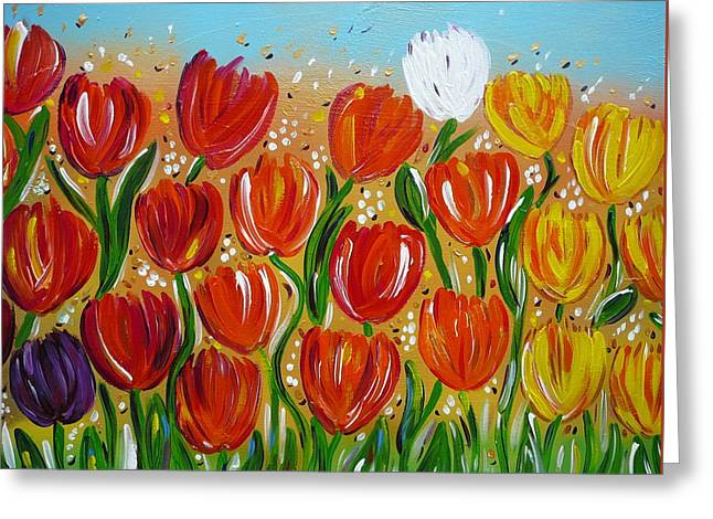Greeting Card featuring the painting Les Tulipes - The Tulips by Gioia Albano