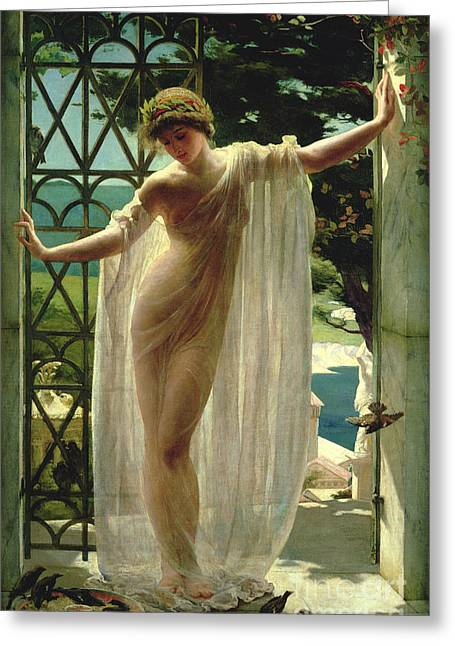 Beauty Art Greeting Cards - Lesbia Greeting Card by John Reinhard Weguelin