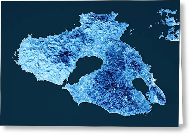 Lesbos Island Topographic Map Blue Color Top View Greeting Card by Frank Ramspott