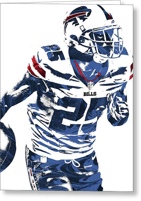 Lesean Mccoy Buffalo Bills Pixel Art 2 Greeting Card by Joe Hamilton