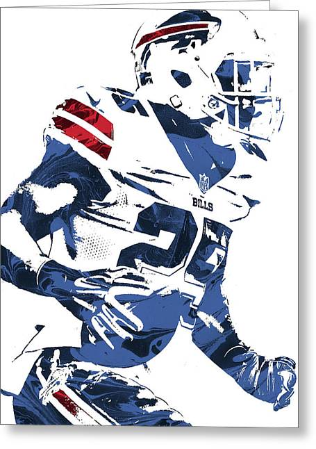 Lesean Mccoy Buffalo Bills Pixel Art 3 Greeting Card by Joe Hamilton